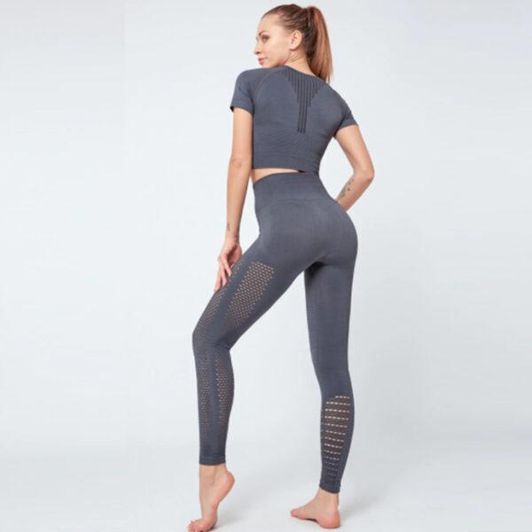Yoga Set Αθλητικό Κολάν Ψηλόμεσο & Μπουστάκι/Μανίκια Grey (A6015)