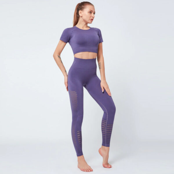 Yoga Set Αθλητικό Κολάν Ψηλόμεσο & Μπουστάκι/Μανίκια Purple (A6015)