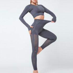 Yoga Set Αθλητικό Κολάν Ψηλόμεσο & Μακρυμάνικο Μπουστάκι Grey (A7015)