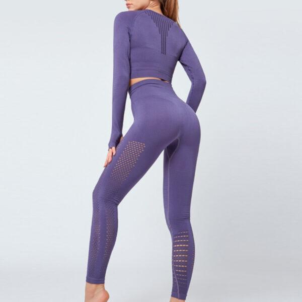 Yoga Set Αθλητικό Κολάν Ψηλόμεσο & Μακρυμάνικο Μπουστάκι Purple (A7015)