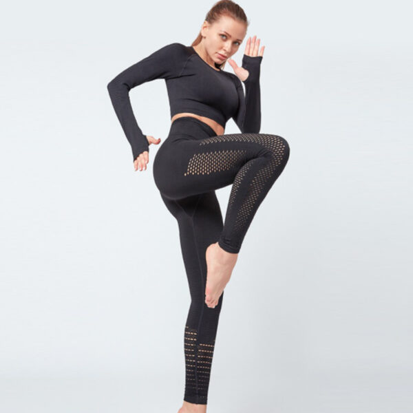 Yoga Set Αθλητικό Κολάν Ψηλόμεσο & Μακρυμάνικο Μπουστάκι Black (A7015)