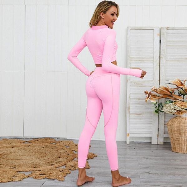 Yoga Set Αθλητικό Κολάν Ψηλόμεσο & Μακρυμάνικο Ζακετάκι Ροζ (A2206)