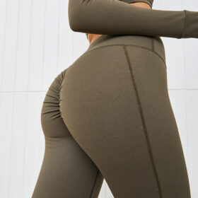 Yoga Set Αθλητικό Κολάν Ψηλόμεσο & Μακρυμάνικο Ζακετάκι Χακί (A2206)