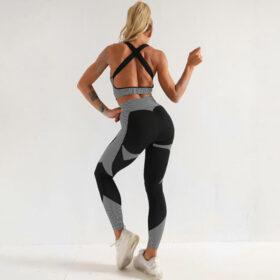 Yoga 3-σε-1 Set Αθλητικό Κολάν Ψηλόμεσο / Ζακετάκι / Μπουστάκι Grey (A031)