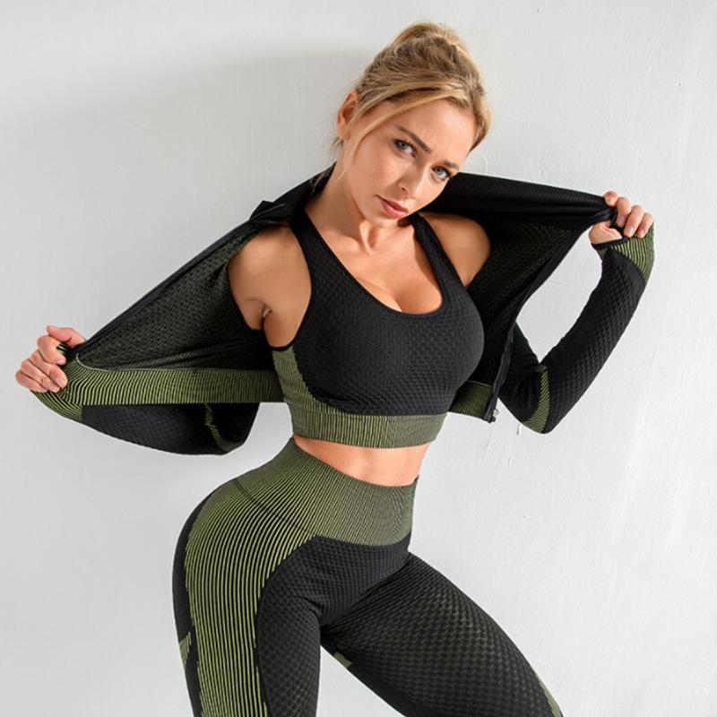 Yoga 3-σε-1 Set Αθλητικό Κολάν Ψηλόμεσο / Ζακετάκι / Μπουστάκι Green (A031)