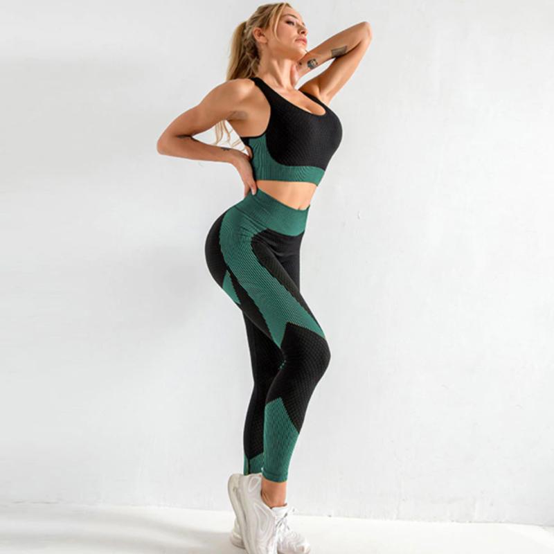 Yoga 3-σε-1 Set Αθλητικό Κολάν Ψηλόμεσο / Ζακετάκι / Μπουστάκι Petrol (A031)