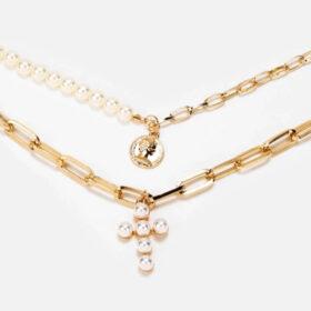Κολιέ Multilayer Χρυσό Vintage Cross με Λευκές Πέρλες & Κρίκους