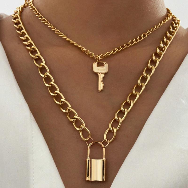 Κολιέ Multilayer Χρυσό Vintage Lock & Key (A757)