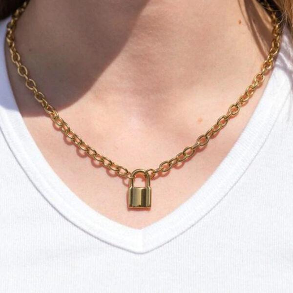 Κολιέ Vintage Lock Gold (A825)