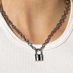 Κολιέ Vintage Lock Silver (A825)