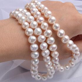 Κολιέ Vintage με Λευκές Natural Πέρλες (A455)