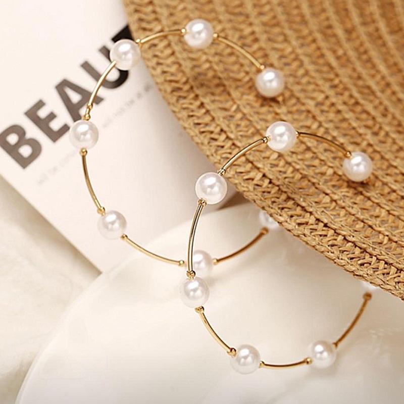 Κρεμαστά Χρυσά Σκουλαρίκια Κρίκοι με Πέρλες