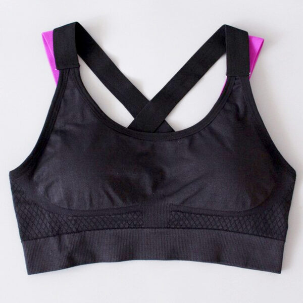 Αθλητικό Μπουστάκι Fitness με Αποσπώμενη Ενίσχυση Black/Purple (A333)