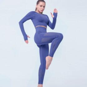 Yoga Set Αθλητικό Κολάν Ψηλόμεσο & Μακρυμάνικο Μπουστάκι Prussian Blue (A7015)