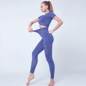 Yoga Set Αθλητικό Κολάν Ψηλόμεσο & Μπουστάκι/Μανίκια Prusian Blue (A6015)