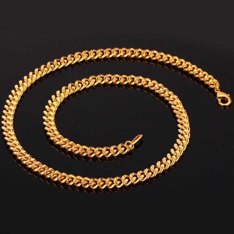 U7 Curb Chain 9mm με βάρος 48gr. - Χάλκος / 18KGP Gold – 46CM