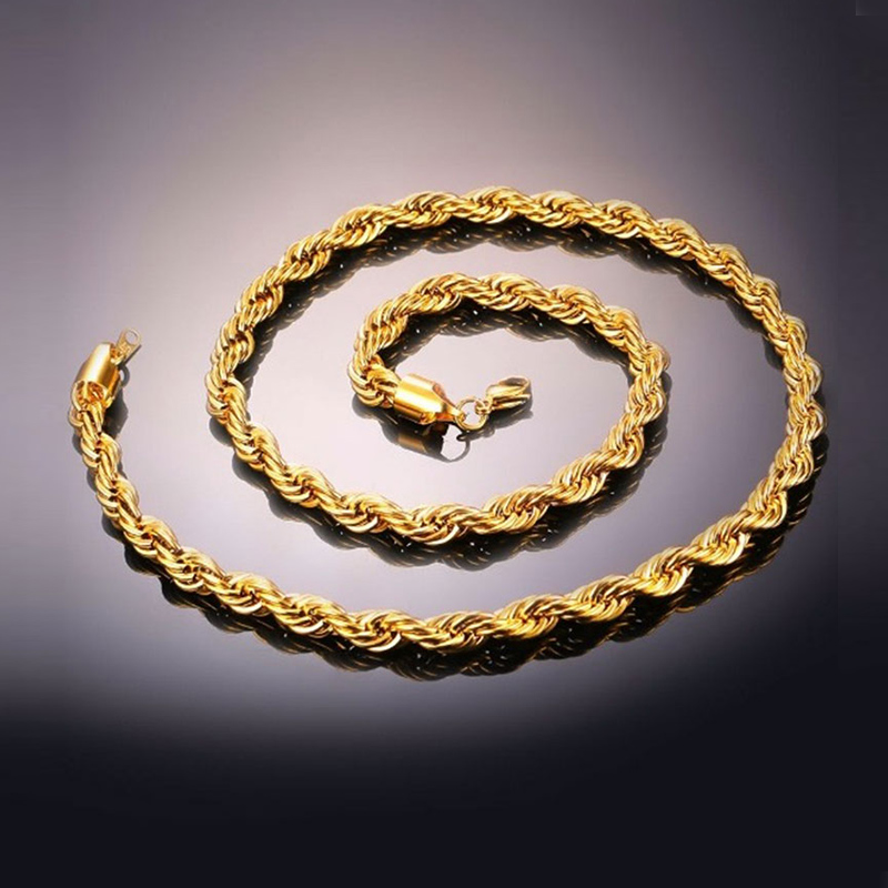 U7 Chain Rope 3mm - Ανοξείδωτο Ατσάλι / 18KGP Gold – 55CM