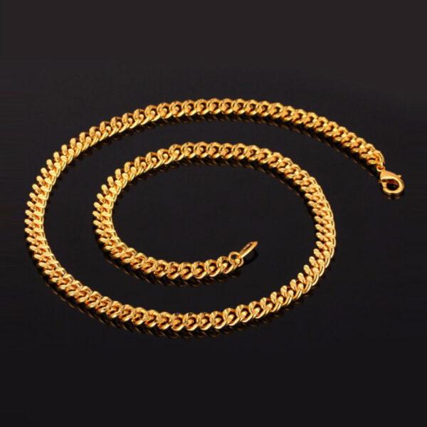 U7 Curb Chain 6mm με βάρος 60gr. - Χάλκος 18KGP Gold – 55CM