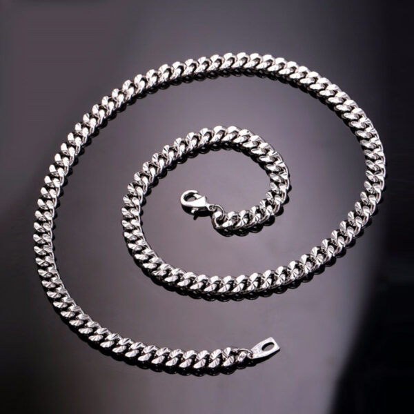 U7 Curb Chain Silver 6mm με βάρος 60gr. – 55CM