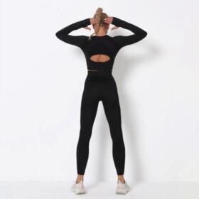 Fitness Set Αθλητικό Κολάν Ψηλόμεσο & Μπουστάκι Μακρυμάνικο Black (A9169)