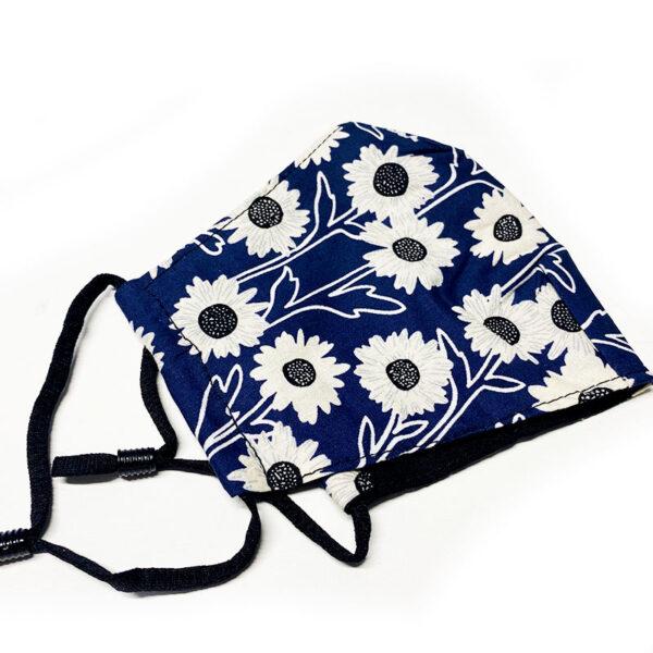 Μάσκα Πολλαπλών Χρήσεων Flowers Dark Blue - One Size