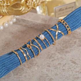 Σετ 10 Δαχτυλίδια Vintage Gold Boho Pearl