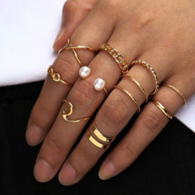 Σετ 10 Δαχτυλίδια Vintage Gold Boho Dual Pearl