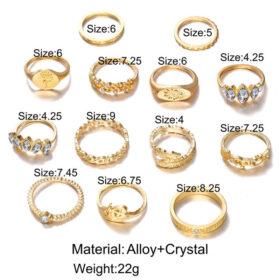 Σετ 13 Δαχτυλίδια Bohemian Crystal Mosaic