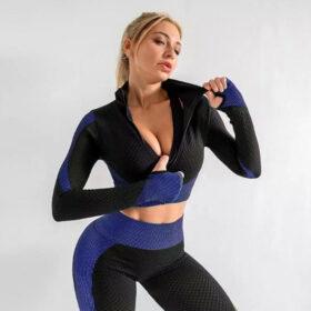 Fitness 3-σε-1 Set Αθλητικό Κολάν Ψηλόμεσο / Ζακετάκι / Μπουστάκι Blue (A031)
