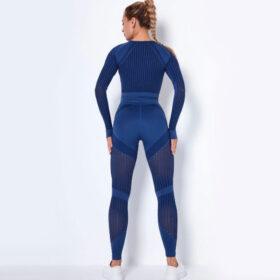 Fitness Set Workout Κολάν Ψηλόμεσο & Μακρυμάνικο Μπουστάκι Μπλε