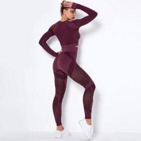 Fitness Set Workout Κολάν Ψηλόμεσο & Μακρυμάνικο Μπουστάκι Μπορντό