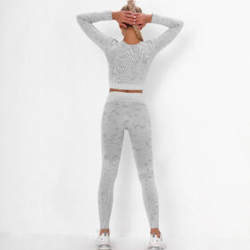 Fitness Set Αθλητικό Κολάν Ψηλόμεσο & Μπουστάκι Μακρυμάνικο Army Grey