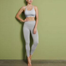 Fitness 3-σε-1 Set Αθλητικό Κολάν Ψηλόμεσο / Μακρυμάνικο / Μπουστάκι Crystal White