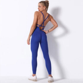 Fitness Ολόσωμη Αθλητική Φόρμα Τιράντες Blue