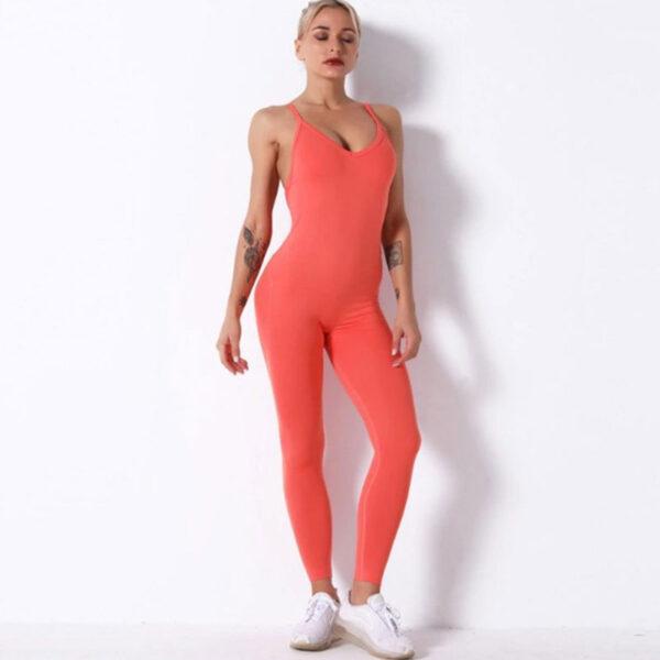 Fitness Ολόσωμη Αθλητική Φόρμα Τιράντες Coral