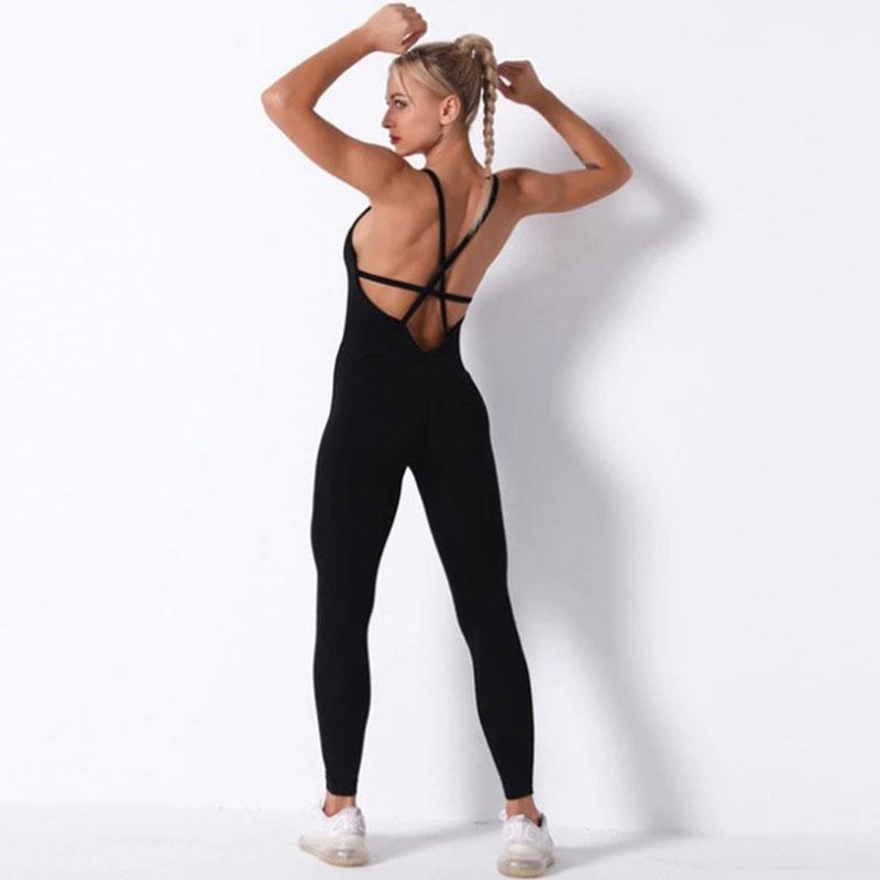 Fitness Ολόσωμη Αθλητική Φόρμα Τιράντες Black