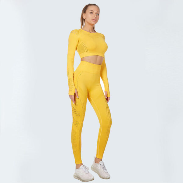 Fitness Set Αθλητικό Κολάν Ψηλόμεσο & Μακρυμάνικο Μπουστάκι Yellow (A5015)