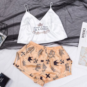 Σετ Pyjama Ψηλόμεσο Σορτσάκι & Τιραντάκι Queen White/Gold