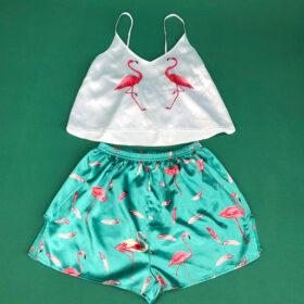 Σετ Pyjama Ψηλόμεσο Σορτσάκι & Τιραντάκι Flamingo White/Blue