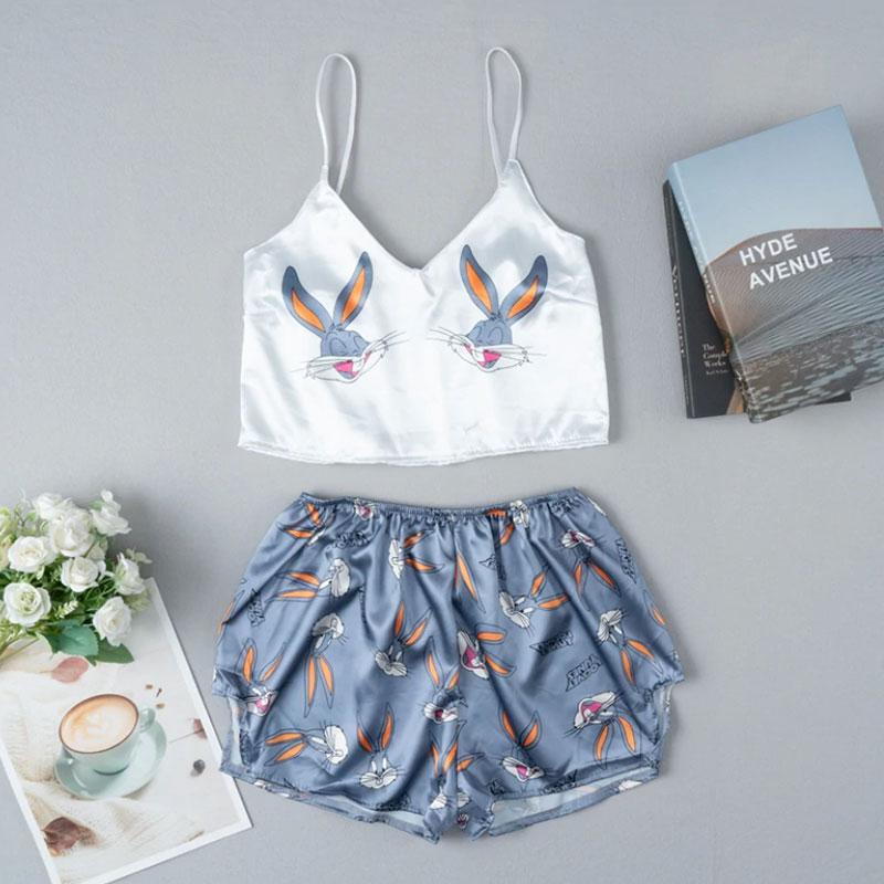 Σετ Pyjama Ψηλόμεσο Σορτσάκι & Τιραντάκι Bugs Bunny Λευκό/Γκρι