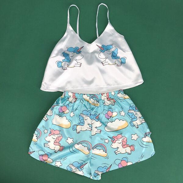 Σετ Pyjama Ψηλόμεσο Σορτσάκι & Τιραντάκι Unicorn Λευκό/Γαλάζιο