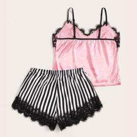 Σετ Pyjama Ψηλόμεσο Σορτσάκι & Τιραντάκι με Δαντέλα Ριγέ/Ροζ