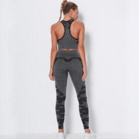 Fitness Set Αθλητικό Κολάν Ψηλόμεσο και Μπουστάκι Army Grey