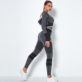 Fitness Set Αθλητικό Κολάν Ψηλόμεσο & Μπουστάκι Μακρυμάνικο Fitness Line Black/Grey (Α6302)