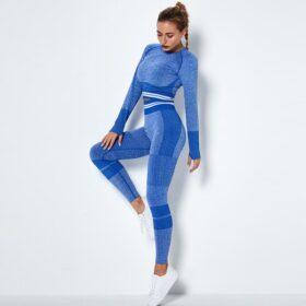 Fitness Set Αθλητικό Κολάν Ψηλόμεσο & Μπουστάκι Μακρυμάνικο Fitness Line Blue (Α6302)