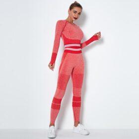Fitness Set Αθλητικό Κολάν Ψηλόμεσο & Μπουστάκι Μακρυμάνικο Fitness Line Red (Α6302)