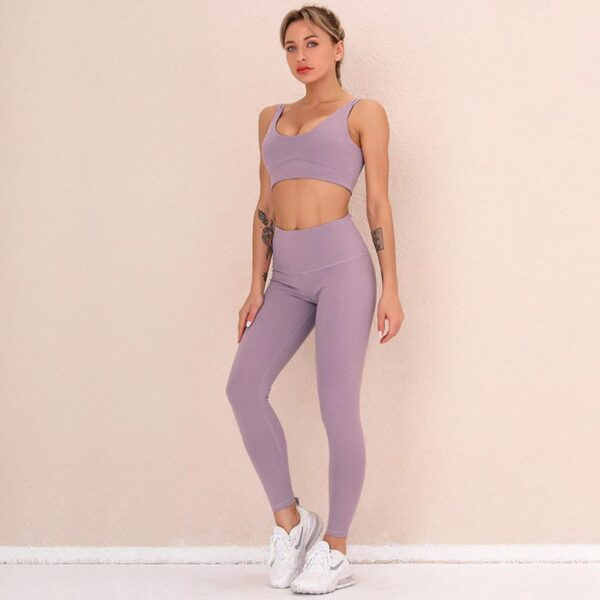 Fitness Set Αθλητικό Κολάν Ψηλόμεσο & Μπουστάκι Lila (A6226)