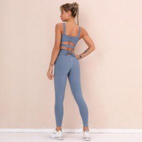 Fitness Set Αθλητικό Κολάν Ψηλόμεσο & Μπουστάκι Blue (A6226)