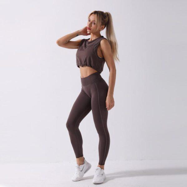 Fitness Set Αθλητικό Κολάν Ψηλόμεσο & Crop Top Αμάνικο Brown