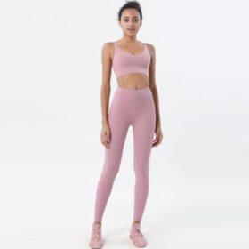 Fitness Set Αθλητικό Κολάν Ψηλόμεσο & Μπουστάκι Rose